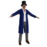 3d model wild west salesman man