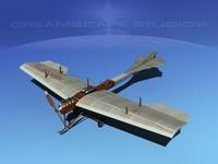 3d model antoinette monoplane plane