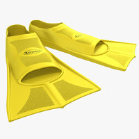 swim fins yellow 3d model