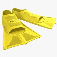 swim fins yellow 3d model