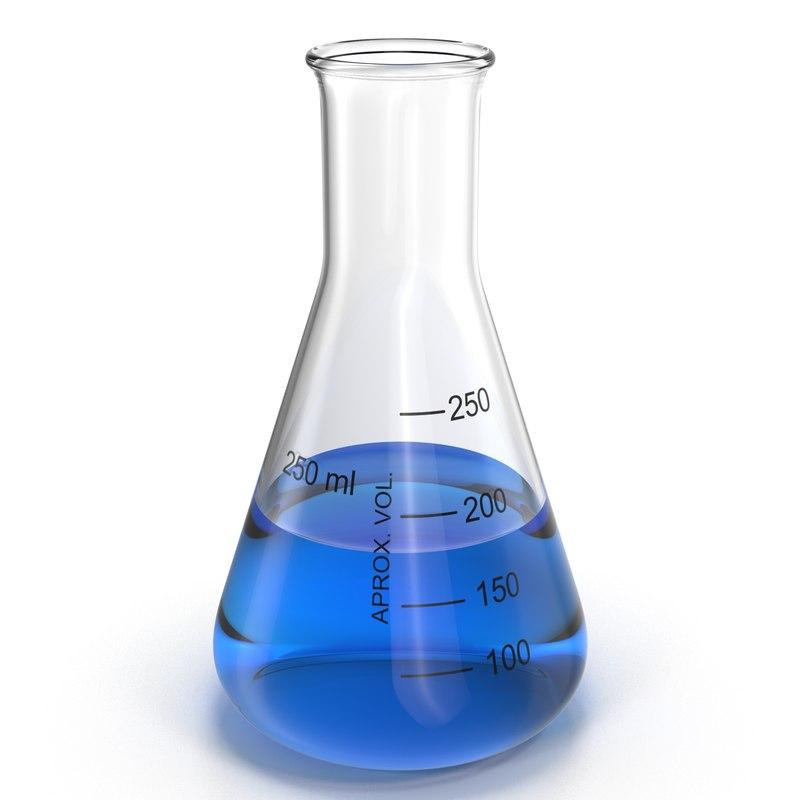 3d model 250 ml erlenmeyer flask