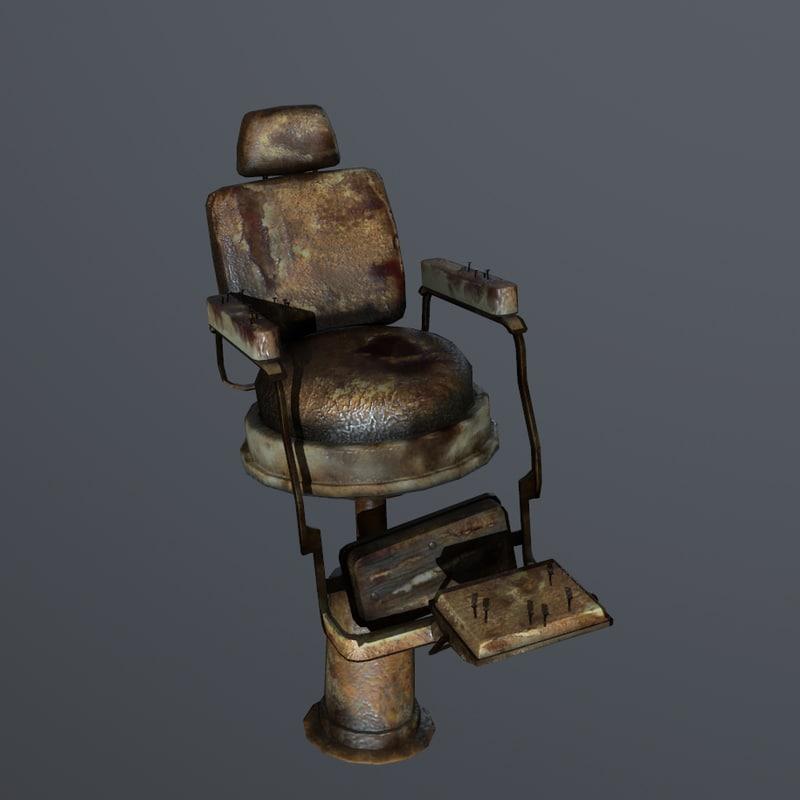 old barbershop chair 3d model