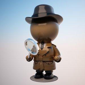 3d max cartoon detective character
