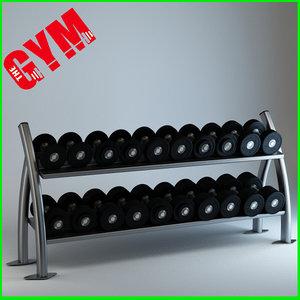 3d twin tier dumbbell rack model