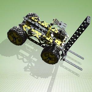 meccano forklift complete kit 3d model