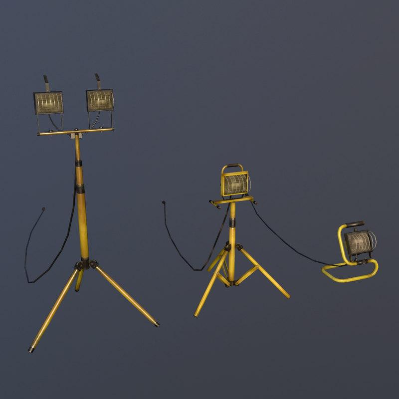 halogen work lights 3d model
