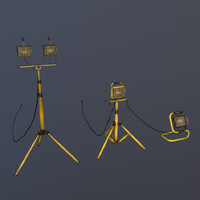 halogen work lights 3d model