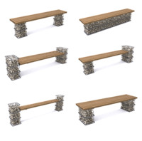 3d gabion benches