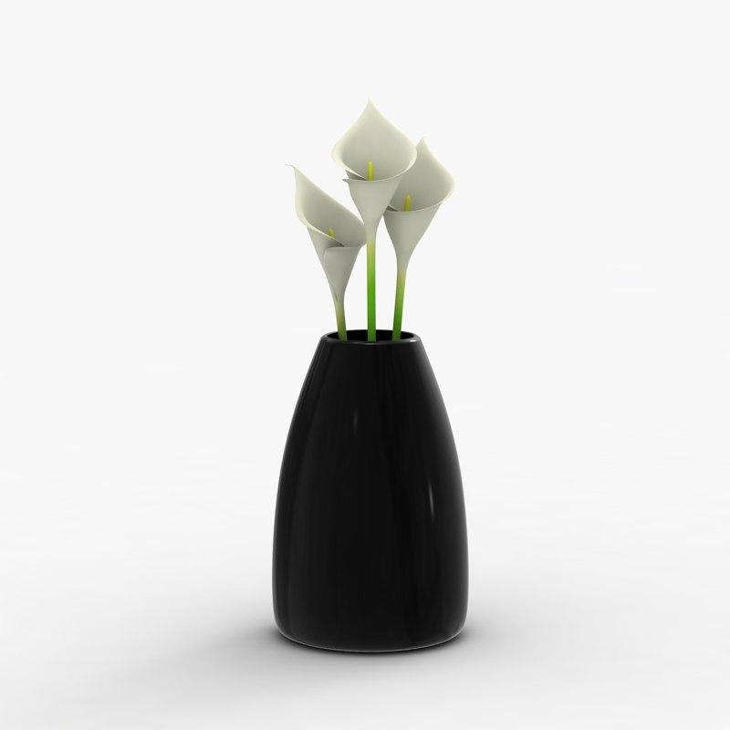 3d model modern vase flowers