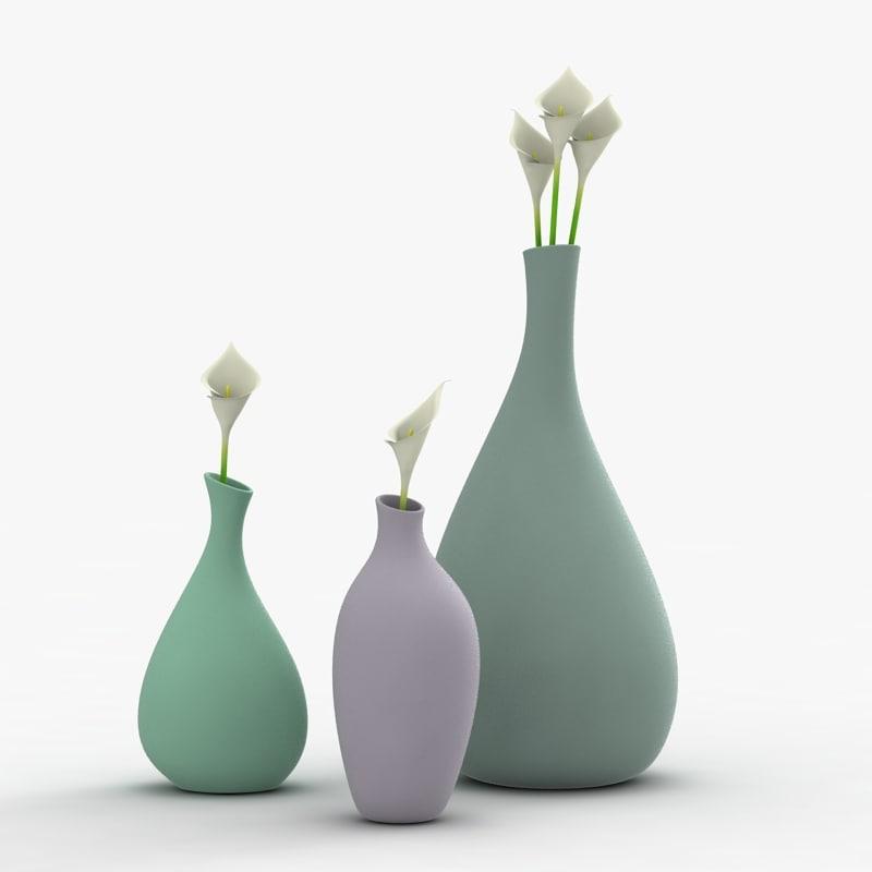 3d model modern vases flowers