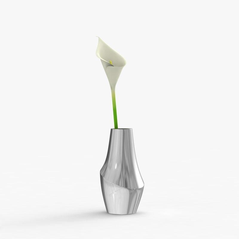 3ds max modern vase flower
