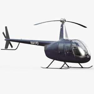 3d robinson black helicopter interior