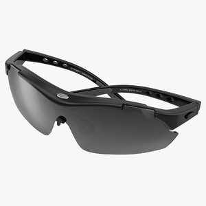 sport glasses 2 black 3d model