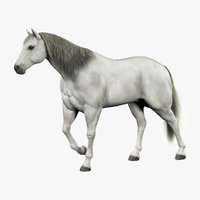 Horse (White) (Animated) (Fur)