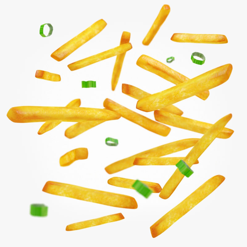 french fries green onions 3d max