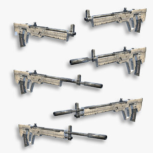 3d model set sci-fi assault rifles