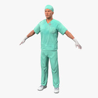 Male Surgeon Caucasian with Blood 2 3D Model