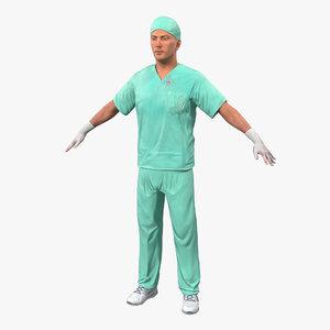 male surgeon caucasian blood 3d model
