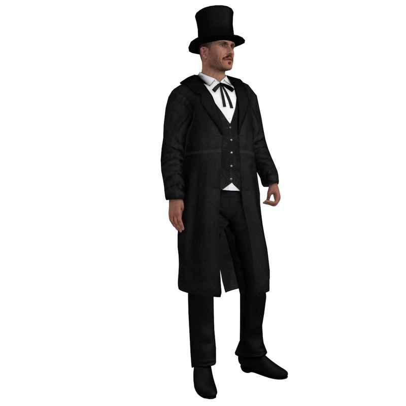 3d model of rigged wild west undertaker