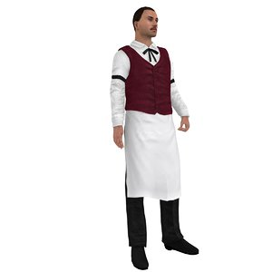 3d rigged wild west bartender model