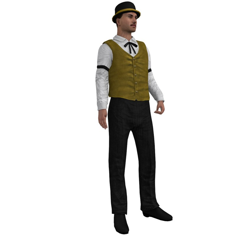 rigged wild west banker 3d max