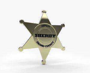 badge sheriff 3d model