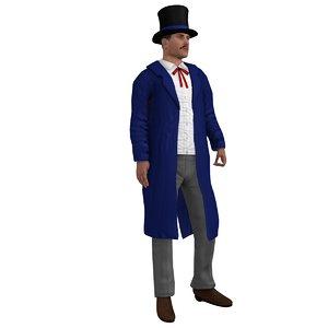 rigged wild west salesman 3d model