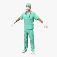 male surgeon caucasian 3d model