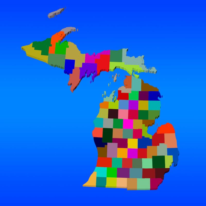 3d counties michigan model