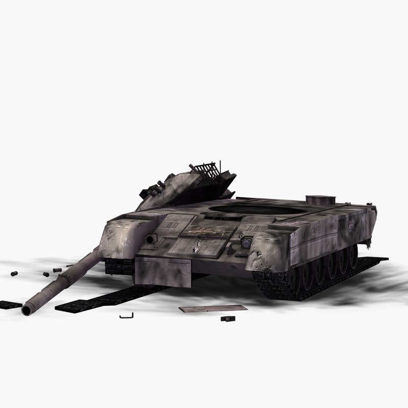 3d wrecked t80 battle tank