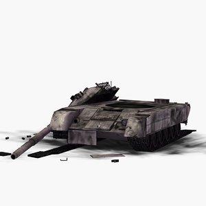 3d wrecked t80 battle tank