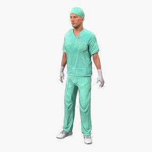 male surgeon caucasian rigged max