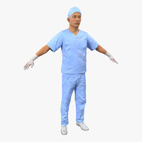 Male Surgeon Asian with Blood 2 3D Model