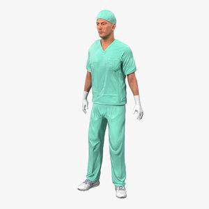 3d male surgeon caucasian rigged