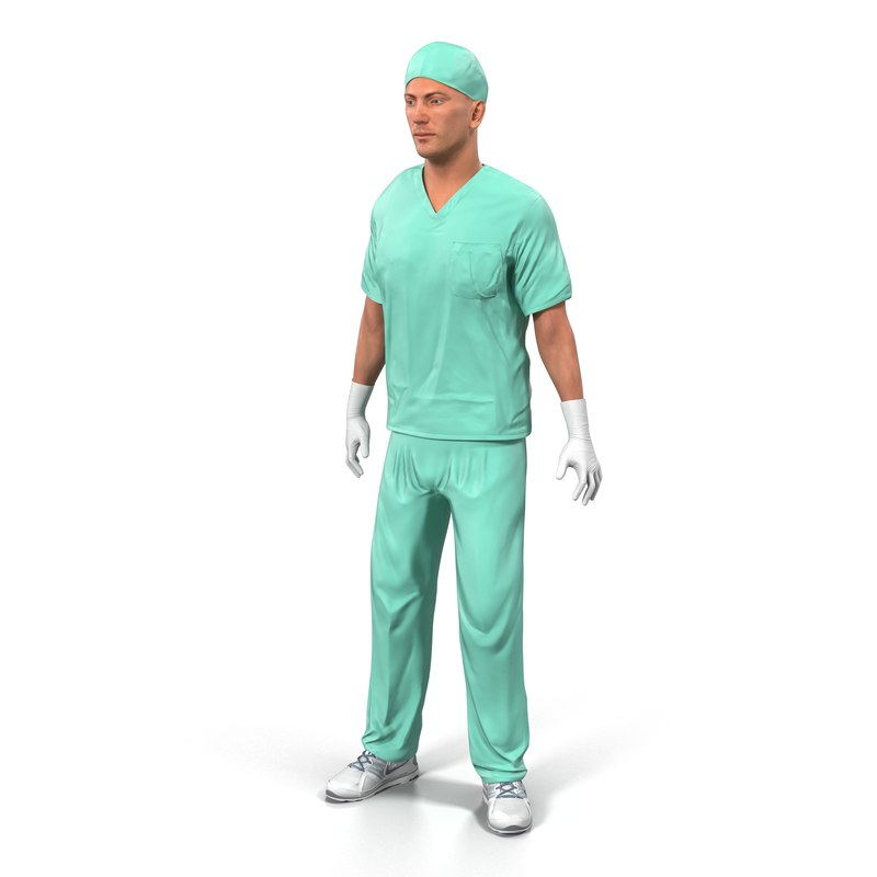 3d male surgeon caucasian rigged