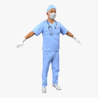 male surgeon asian 3d 3ds