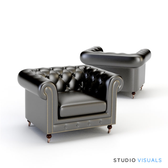 3ds max leather club chair
