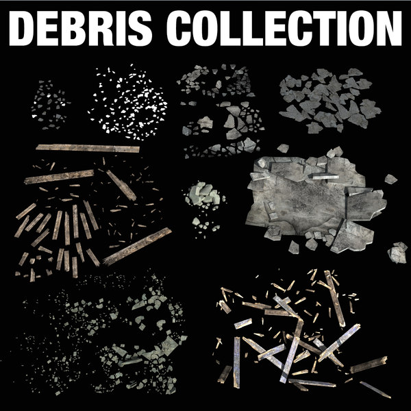 debris damage concrete 3d model