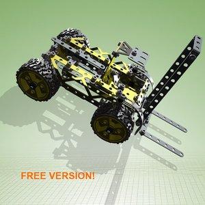 free meccano forklift version! 3d model