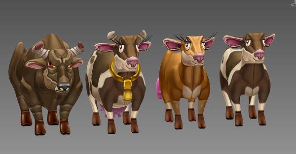 3d model cow animal cartoon toon