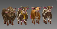 3d model cow animal cartoon toon
