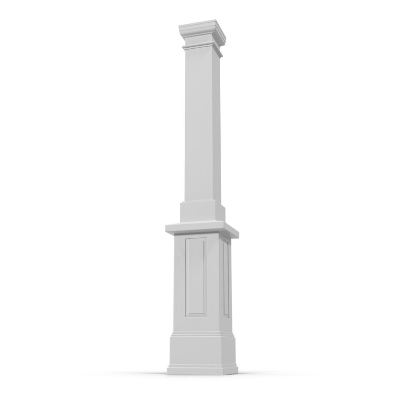 3d smooth modern column capital