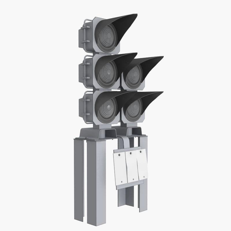 3d traffic light railway model