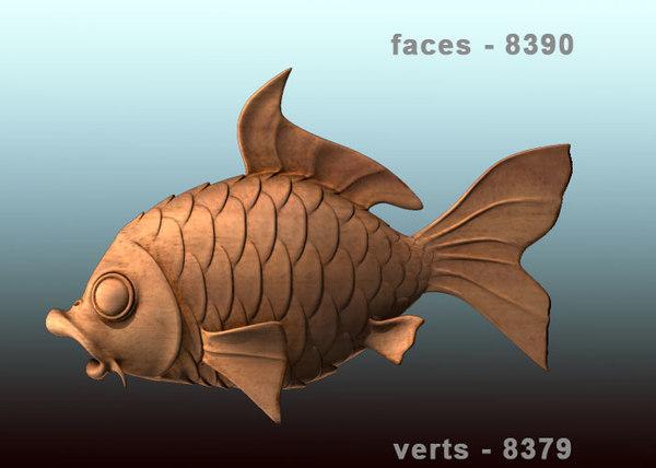 3d fish carved wood model