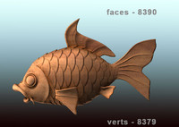 3D Model of fish carved from wood