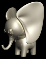 statuette porcelain elephant calf 3d model