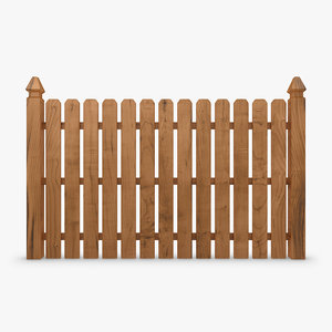 3d model realistic fence wood 04