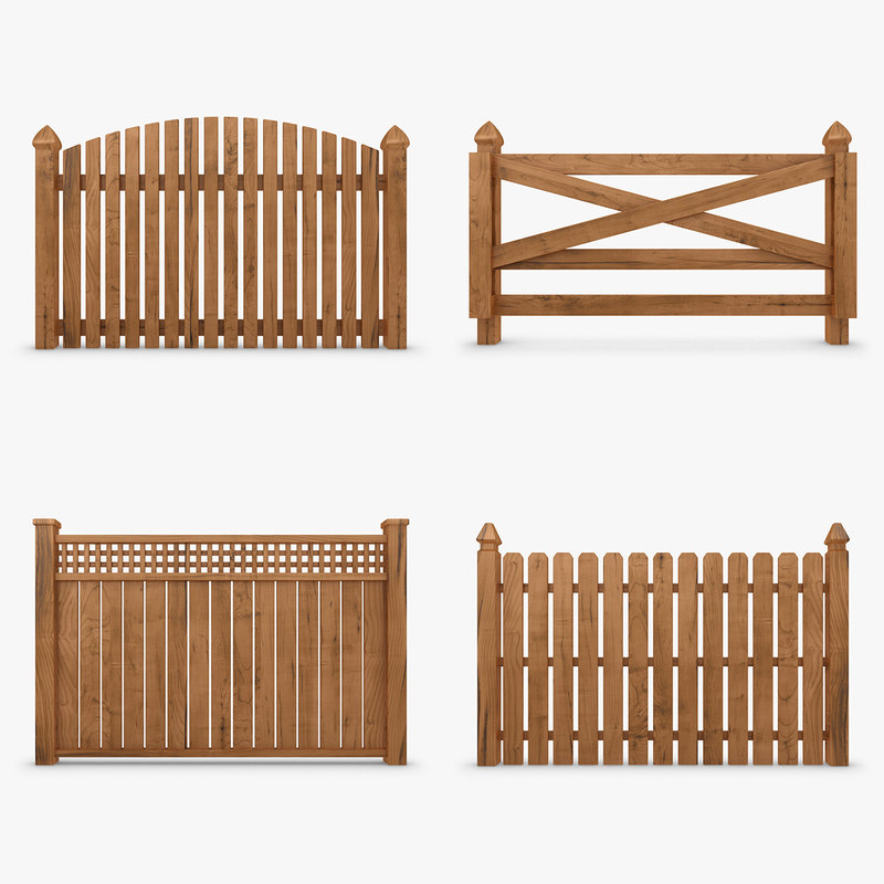 3ds max fence wood set