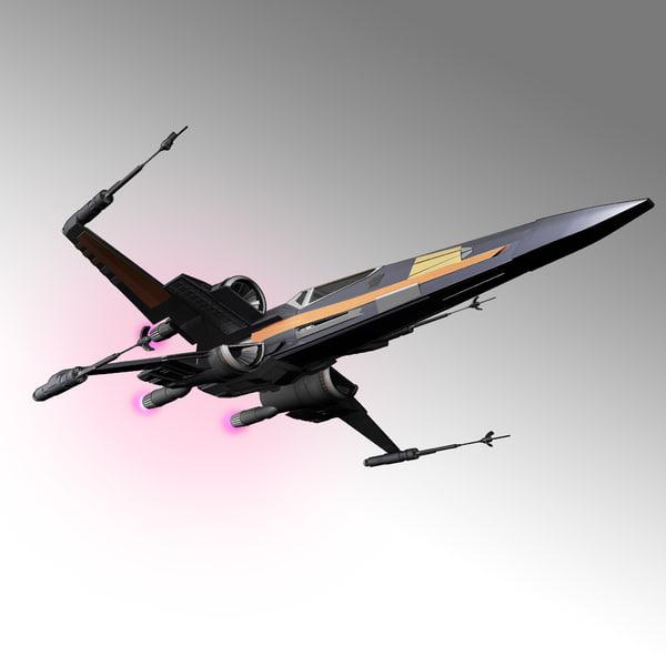 starfighter xwing 3d model