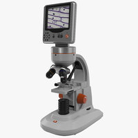 3d model lcd digital microscope white